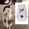 Blusas feminina 2016 новый корейский весна лето милый сладкий Свободные мике кардиган с капюшоном футболка с длинным предотвратить греться женский A2366