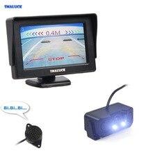 SMALUCK 4,3 дюймов цветной TFT lcd автомобильный монитор + Водонепроницаемый парковочный радар Видео парковочный сенсор автомобильная парковочная камера комплект