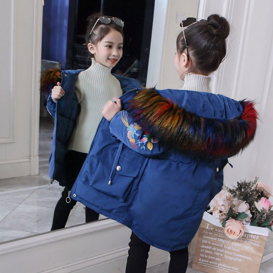 все цены на 2018 Fur Hood Jacket for Girls Children Snow Wear Parka Thick Cotton-Padded Winter Jacket for Children Christms Winter Coat