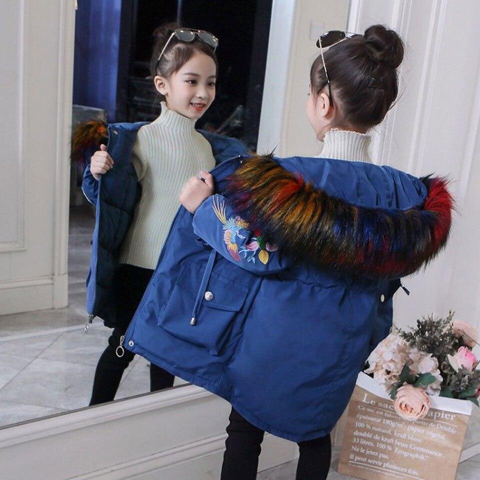 2018 fourrure capuche veste pour filles enfants neige porter Parka épais coton rembourré veste d'hiver pour enfants noël manteau d'hiver
