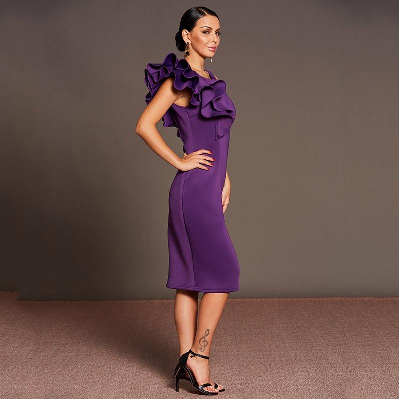 Tanpell ruffle mangas vestido de coctel púrpura o cuello té longitud ...