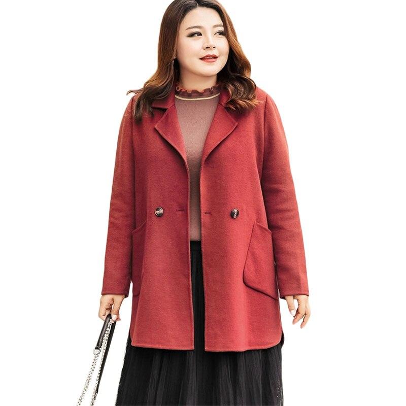 Новый Для женщин шерстяная куртка осень зима куртка Двусторонняя пальто свободные тренчи плюс Размеры Для женщин одноцветное пальто 6XL A1127