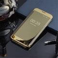 Para iphone 6 6 s plus luxury smart inverter vista fino galvanoplastia espelho Rígido Tampa Transparente Clara Para Samsung Uma Série S6 S7