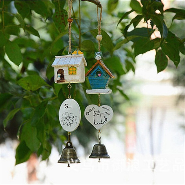 Home Garden Ornaments Bird House Cage Home Ornament Wind Chimes Baby  Children Gift Pastoral Hanging Home