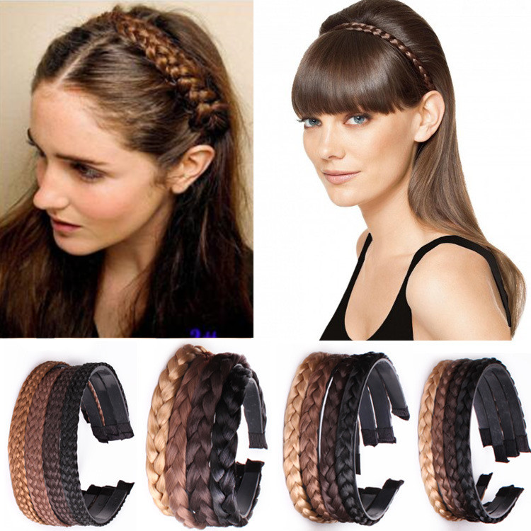 Women Girls Fashion Hair accessories Vintage Headband Braids Hair Band   Headwear   Hair Wig Accessories