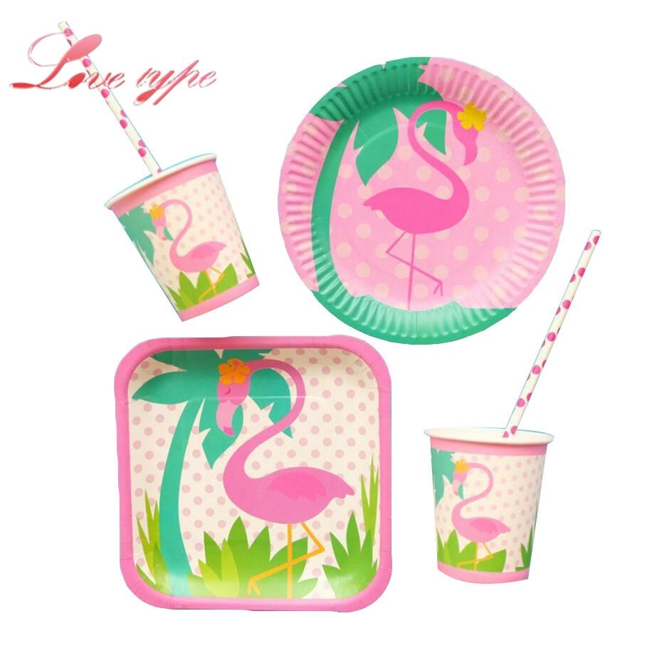 Одноразовая посуда, наборы вечерние чашка тарелка Фламинго тема Шампанское Вечерние поставки Свадебные/малыш день рождения/бассейн вечерн...