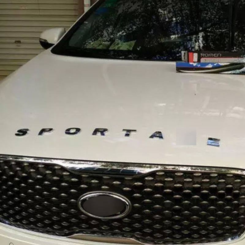 FOR KIA SPORTAGE 2012 2013 2014 2015 2016 2017 ACCESSORIES METAL CHROME BONNET EMBLEM ALPHABET STICKERS CAR STYLING