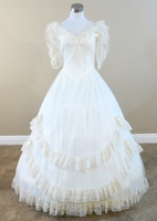 Ivory Dotted Lace Gown Civil War Costume Renaissance Dress Satin Dres