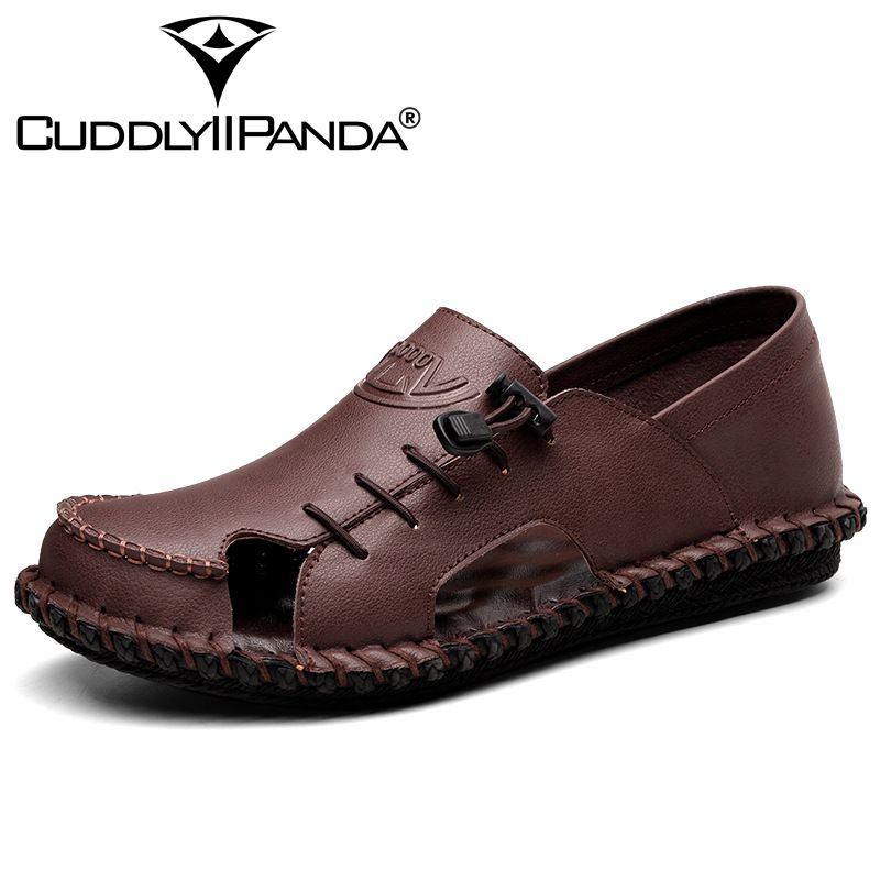 CUDDLYIIPANDA 2018 Men Beach Shoes New Genuine Leather Men Casual Shoes Cool Foot Walking Shoes Outdoor Breathable Sandals