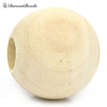2016 Hot Sale Jewelry DIY Natural Wood Spacer Beads Round Ball Natural 25mm Dia, Hole:Approx 10mm, 20PCs (B27508)
