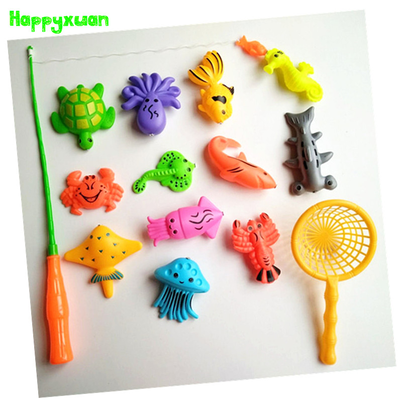 Happyxuan 14pcs Set Magnetic Fishing Toy Game Kids 1 Rod 1 net 12 3D Fish Baby Bath Toys Outdoor Fun