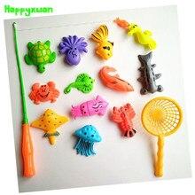Happyxuan 14pcs Set Magnetic Fishing Toy Game Kids 1 Rod 1 net 12 3D Fish Baby Bath Toys Outdoor Fun