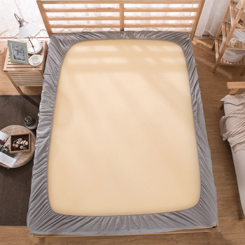 Grey bed sheet fitted sheet with round elastic Plain  1