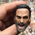 """Alta Qualidade 1/6 The Walking Dead Rick Grimes Rugindo Masculino Esculpe Cabeça Modelo Brinquedos Para crianças de 12 """"Figura de Ação do sexo masculino Acessório"""