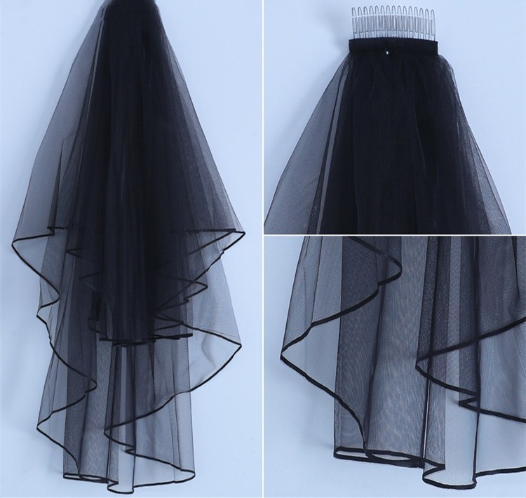 Купить с кэшбэком JaneVini 2018 Black Two Layers Wedding Veils with Comb Soft Tulle Women Brides Bridal Veil Short Ribbon Edge Welon Bruidssluier