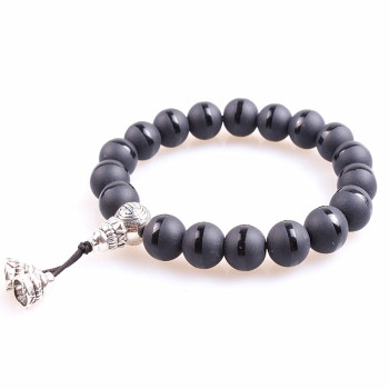 10mm Black Glass Bead Buddhism Charm Stretch Rope Bracelet For Men Mala Yoga Lotus Prayer Beads Bracelet buddhist rope bracelet