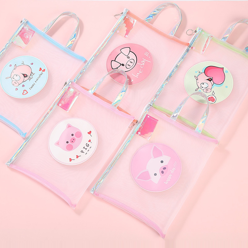 1 Pcs Cartoon Pig Transparent Zipper Mesh Document Bag Escolar Student Examination Paper Storage Bag Stationery Office Supplies