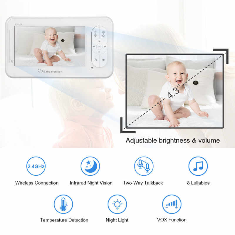 4.3 inch Wireless Video Baby Monitor 2 Way Talk High Color Resolution Baby Nanny Security Camera VOX Mode Temperature Monitoring