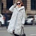2016 Nova Moda Feminina Inverno Para Baixo acolchoado-Algodão Brasão Feminino Longo Grosso Quente Jaqueta Com Capuz de Lã De Cordeiro Outwear Mais tamanho ZS196