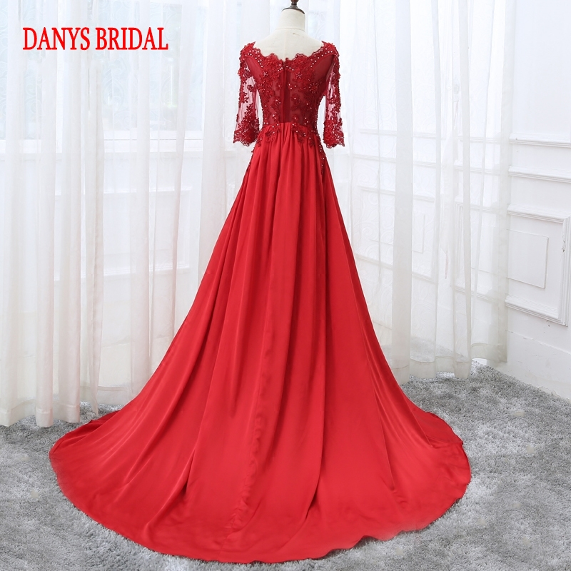 Robe de soirée longue en dentelle rouge à manches - Habillez-vous pour des occasions spéciales - Photo 6