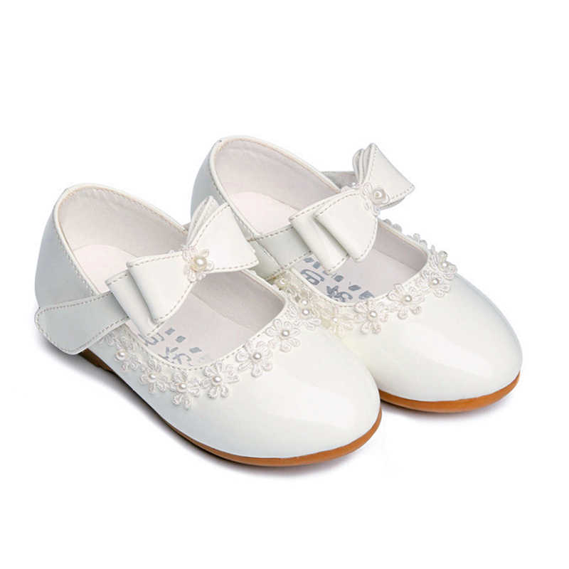 Kinderen Prinses Baby Schoenen Rood/Zwart/Wit Band Soft Sole PU Leer Mode Strik Strass Bloem Meisjes Jurk dansschoenen