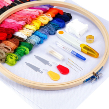 Embroidery Starter Kit 50 Color Bamboo Embroidery Hoops Cross Stitch