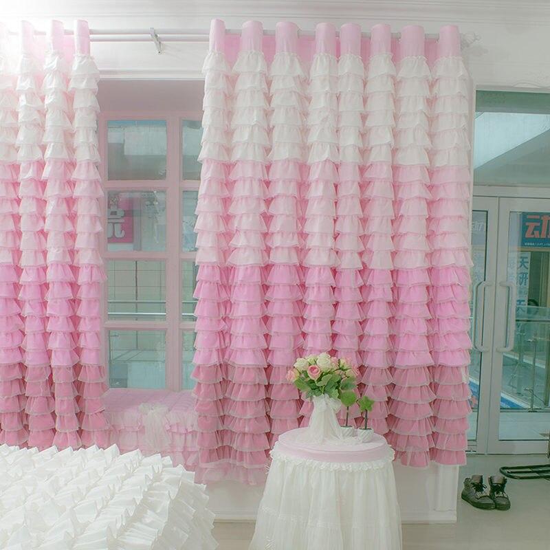 Nouveau gâteau européen et américain couches arc-en-ciel rideau princesse chambre plat baie fenêtre rideaux mariage décoratif cortina