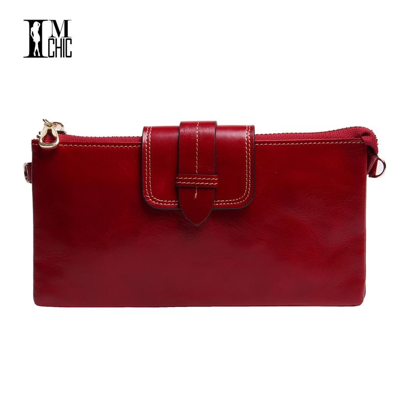 Quality Oil Wax Real Leather Women Wallets Clutches Chain Handbags Organizer Luxury  Big Purse Brand Design Cateria Feminas 0598