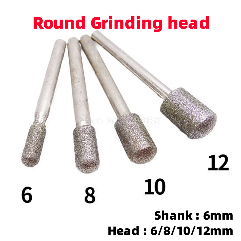 1Pcs 6MM Shank Diamond Cylinder Round Burr Rotary Grinding Head Engraving Etching Abrasive Cylindrical Internal Mounted Points
