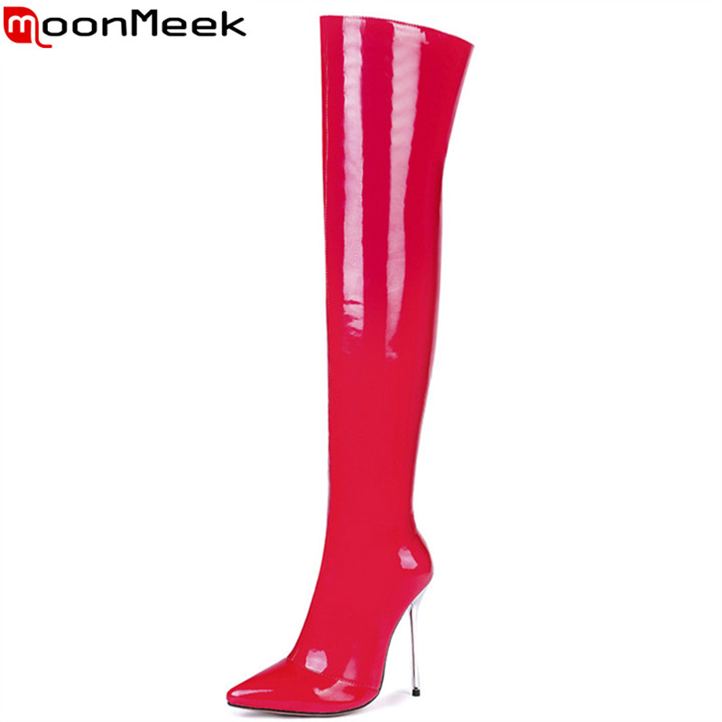 MoonMeek black red fashion autumn winter boots women pointed toe zip over the knee boots super high thin heels thigh high boots 2018 sexy boots over knee high heel autumn winter fashion pointed toe thin heels thigh high long thin leg boots women nysiani