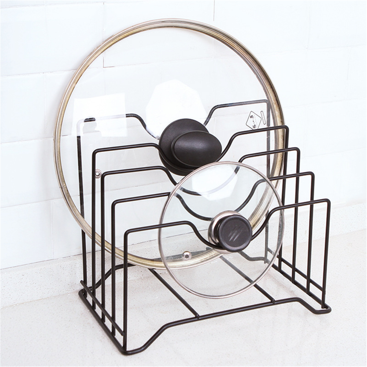 Kitchen Tools Storage Rack Holder Metal Knife Holder Cutting Chopping Board Stand Pot Lid Pan Cover Organizer Accessories Black