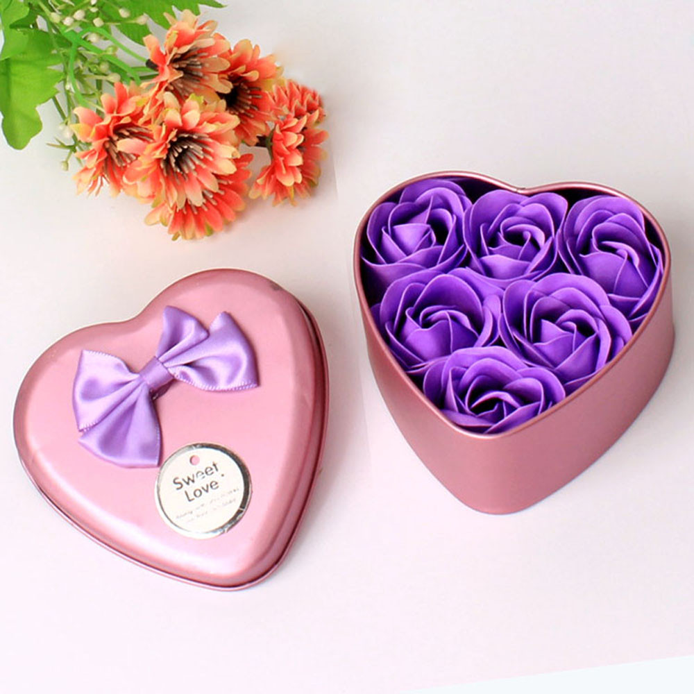 6pcs Heart Scented Bath Body Petal Rose Flower Soap Wedding ...