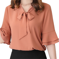 Mara Alee Womens Chiffon Blouses White Shirts Pink Yellow Bell Sleeve Summer Tops Blusas WE303