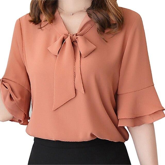 6eae946201 Mara Alee camisas Das Mulheres blusas de chiffon branco rosa amarela sino  luva das senhoras blusas
