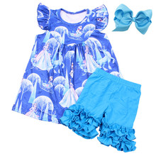 Summer Elsa Boutique Outfits Princess and Olaf Print Girls Set Children Blue Cartoon Party Clothing Ruffle Milksilk Set With Bow