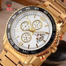 BADACE мужские часы из нержавеющей стали спортивные, военные кварцевые мужские часы роскошные часы мужские Бизнес золотые наручные часы 8930
