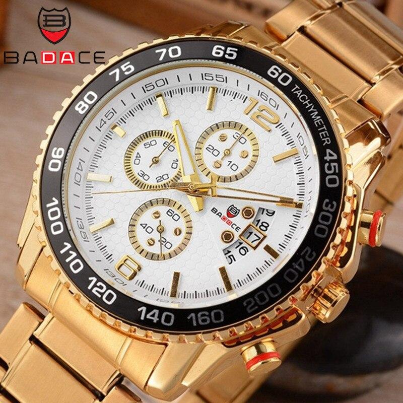 где купить  BADACE Men Watch Stainless Steel Sport Military Quartz Male Watches Luxury Hour Mens Business Gold Wrist Watch Clock 8930  по лучшей цене