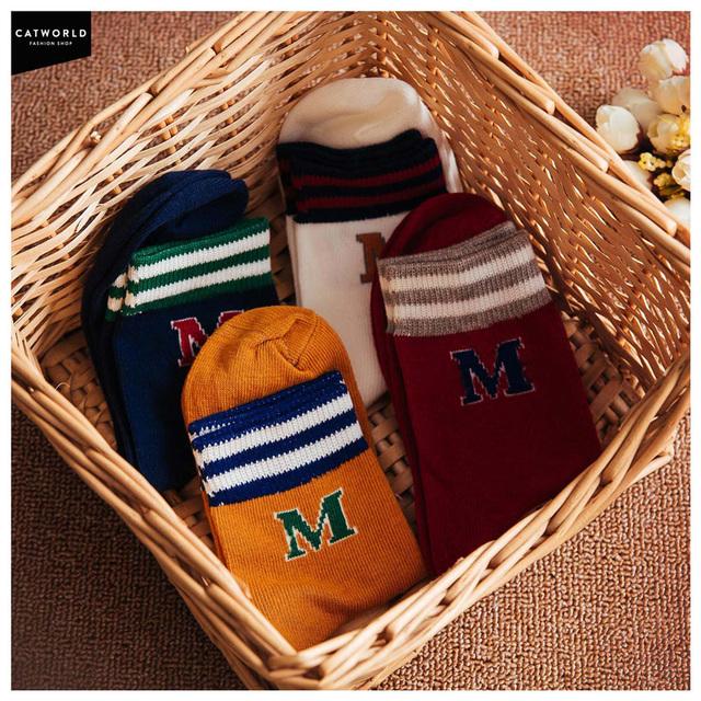 Envío libre Barato 2015 nueva vitalidad 18,002,089 Calcetines calcetines calcetines de algodón de la letra M del campus