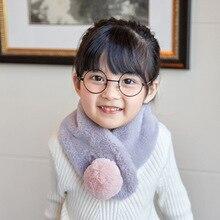 Зимний детский шарф-кольцо для мальчиков и девочек, шарфы с помпонами, детский шарф с воротником из искусственного кроличьего меха, милые удобные теплые шарфы для шеи