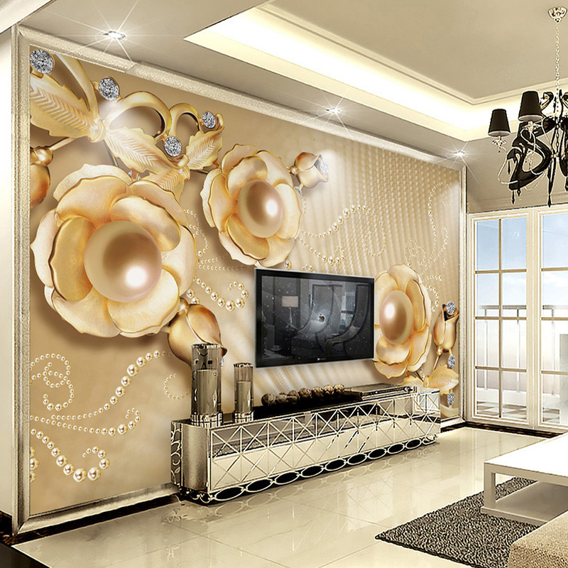 Custom Mural Wallpaper 3d Stereoscopic Relief Pearl: Custom Wall Mural Wallpaper Luxury European Style 3D