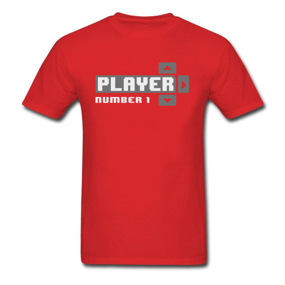 Player Number 1 All Cotton Tops T Shirt for Men Leisure T Shirt 3D Printed Prevailing O-Neck Tops Shirt Short Sleeve Player Number 1 red