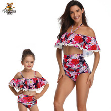 Family Mother Daughter Matching Swimsuit Cute Lovely Sleeveless White Dot Swimwear One-piece Bikini Bathing Suit fashion mother daughter matching girl womens sleeveless palm leaves print swimwear children hat swimsuit bikini set