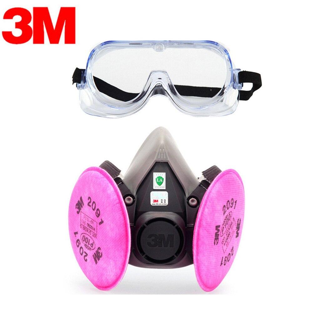 d3af0f6b3aa65f 3 M KN95 6200 + 2091 Masque Anti-Poussière Respirateur avec 1621AF Lunettes  Anti-poussière gaz Anti-brouillard Et brume PM2.5 Masque De Protection  Costume