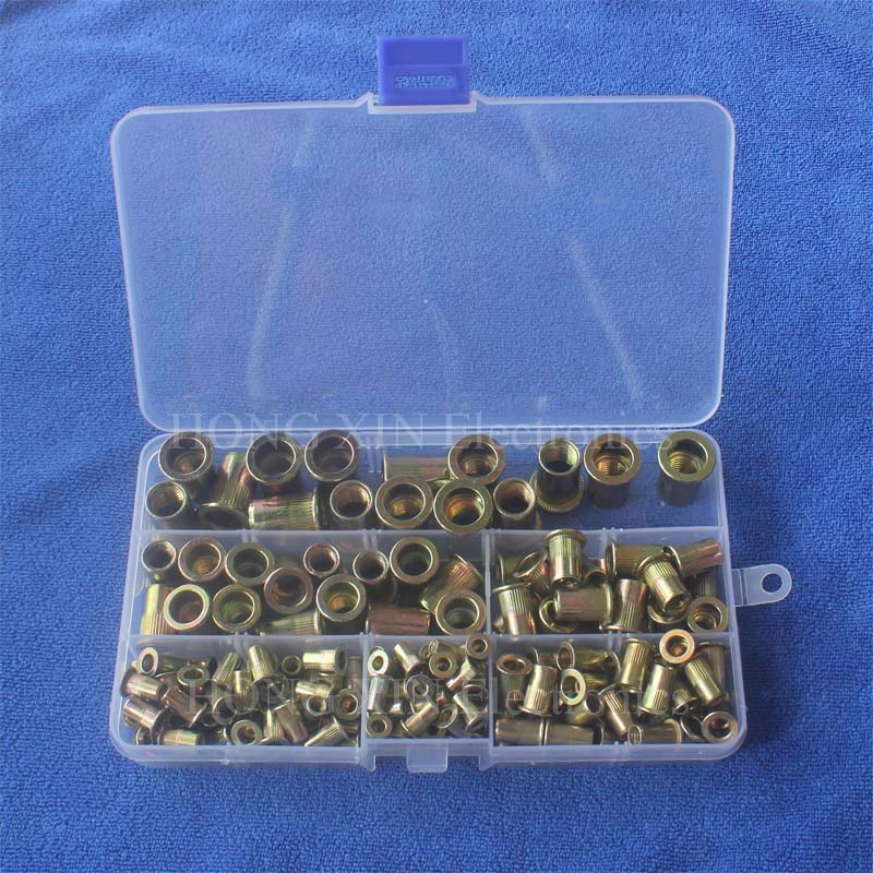175pcs/set M3 M4 M5 M6 M8 M10 Zinc Plated Knurled Nuts Rivnut Flat Head Threaded Rivet Insert Nutsert Cap Rivet Nut 165pcs m3 m4 m5 m6 m8 m10 m12 zinc plated knurled rivet nuts flat head threaded