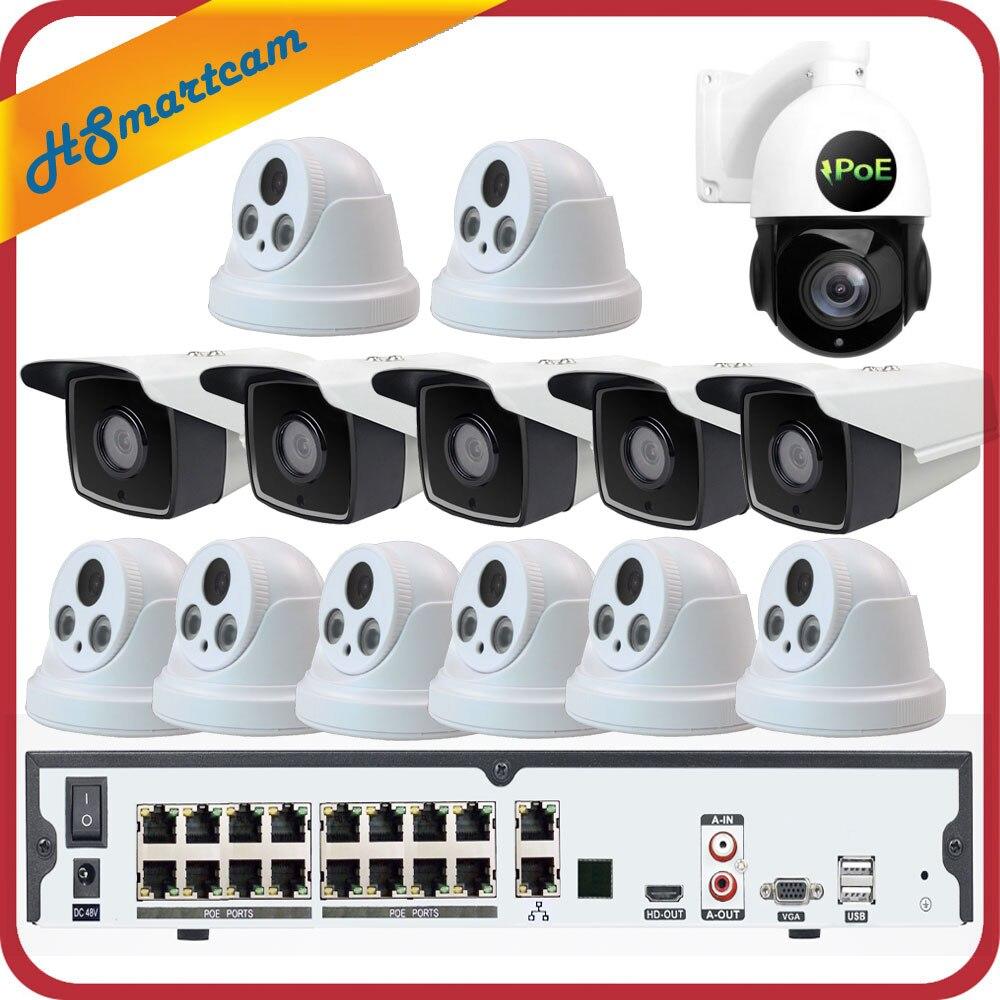 16CH 5MP P2P 3MP H.265 POE NVR CCTV Câmera À Prova D' Água + 5MP 30X ZOOM PTZ Speed Dome Sistema de Câmera De Segurança + POE 4 tb HDD