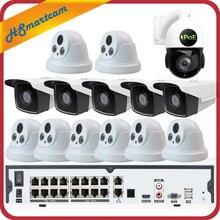 Купольная камера видеонаблюдения, 16 каналов, 5 МП, POE, H.265, NVR, 3 Мп, P2P, водонепроницаемая скоростная PTZ камера с зумом 5 Мп и жестким диском 4 ТБ