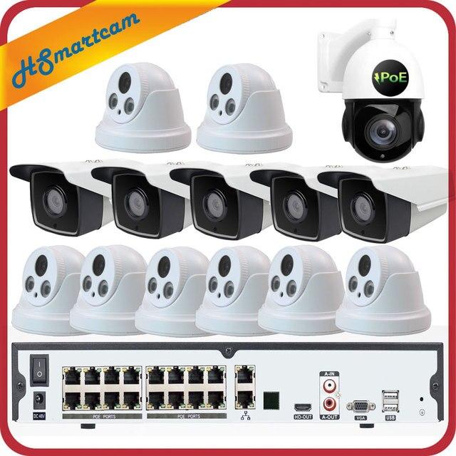 16CH 5MP poe H.265 nvr 3MP cctvカメラP2P防水 + 5MP 30Xズームスピードドームptzカメラセキュリティシステム + poe 4テラバイトhdd