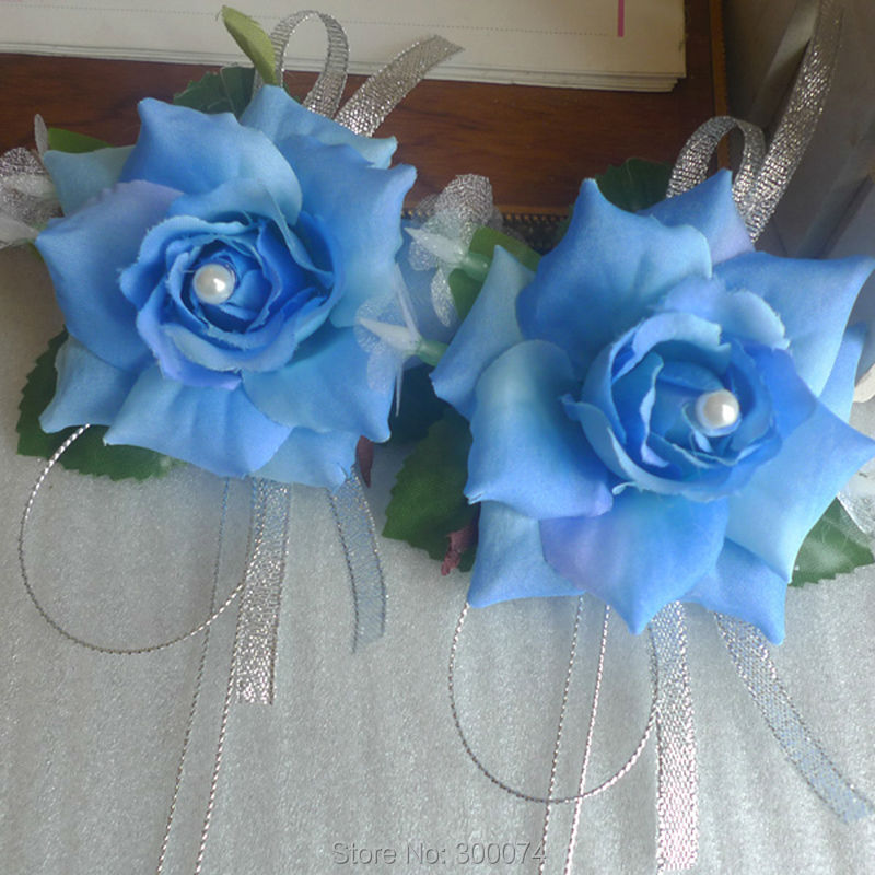4pcs silk rose flower boutonniere brooch artificial silk flowers for flower corsage prom dark blue men corsage mightylinksfo