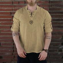 Летняя мужская рубашка, Camisa, стиль, длинный рукав, свободная рубашка, индивидуальная, хлопок-лен, чистый, блузка, топ, уличная одежда, Camisa masculina