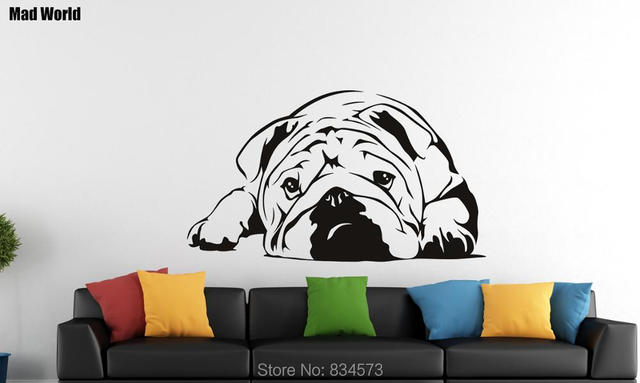 Brand new Mad World English Bulldog Dog Silhouette Wall Art Stickers Wall  DI14